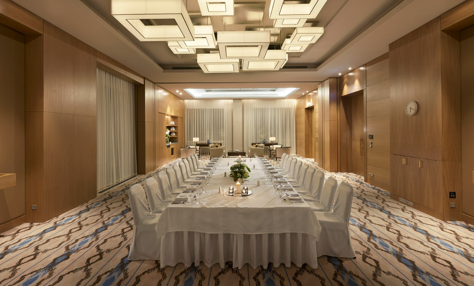 Samarkand Meeting room Dinner Boardroom set up - Hyatt Regency